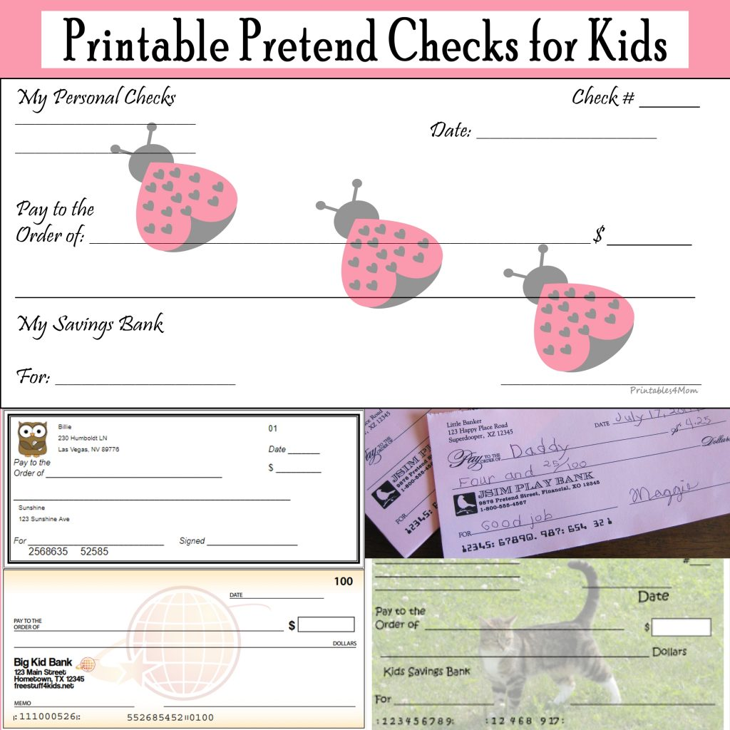 Printable Pretend Checks for Kids Free Printables