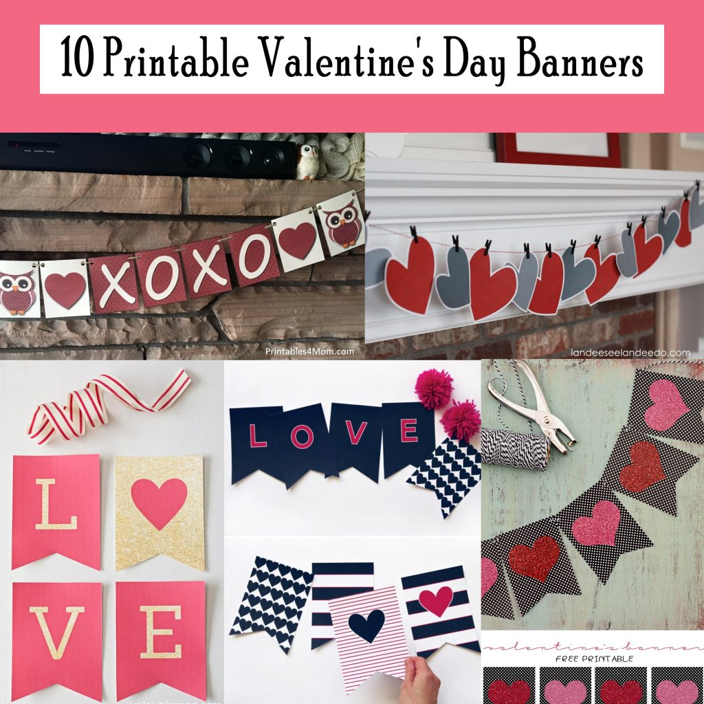 photograph regarding Valentine Banner Printable named 10 No cost Printable Valentines Working day Banners - Printables 4 Mother