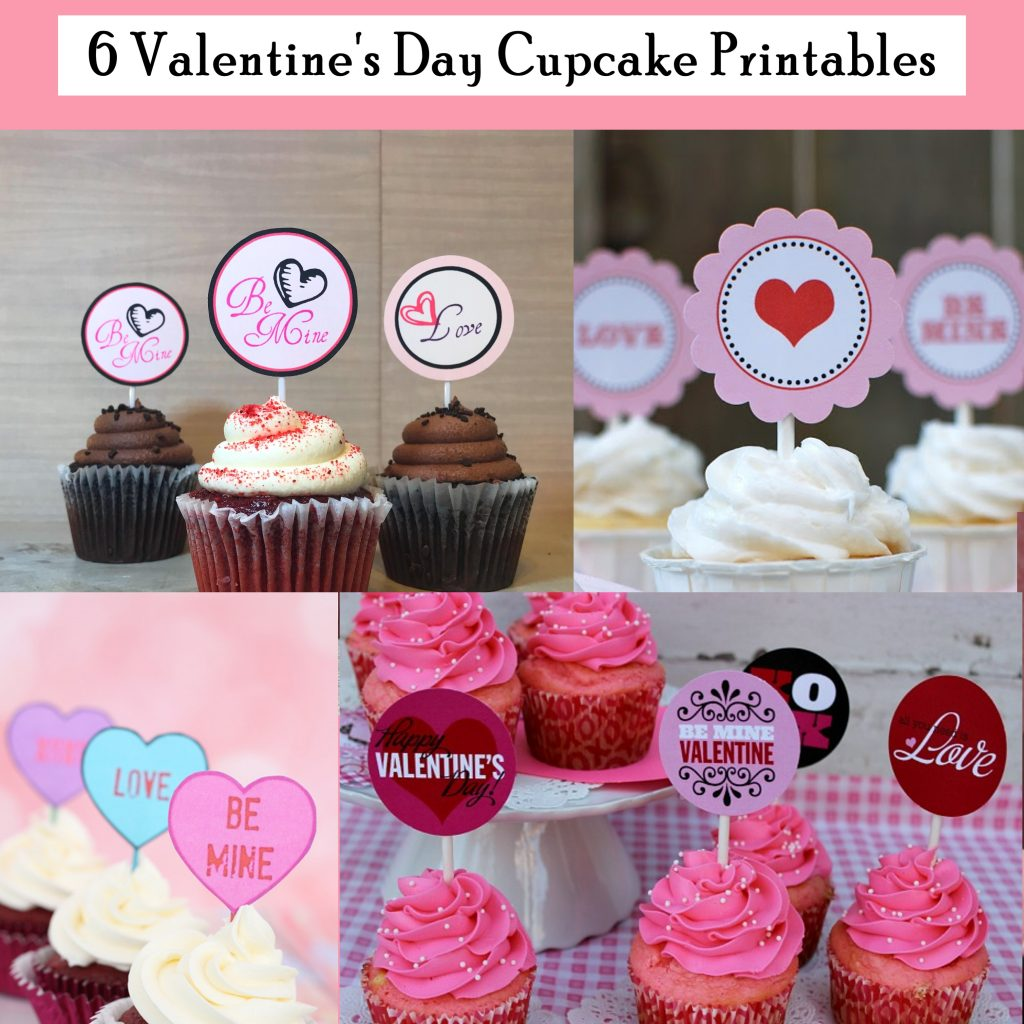 6 Printable Valentine's Day Cupcake Toppers