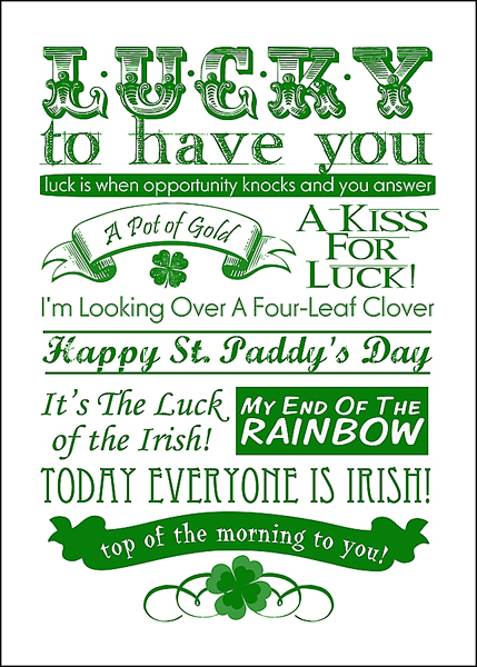 photograph about St Patrick's Day Cards Free Printable referred to as St. Patricks Working day Totally free Subway Artwork Printable - Printables 4 Mother