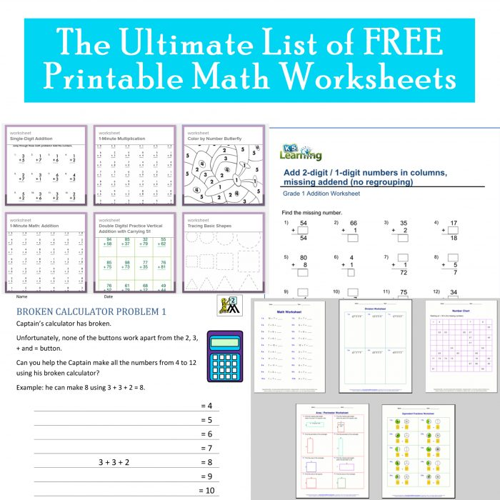 Free Printable Elementary Math Worksheets - Printables 4 Mom