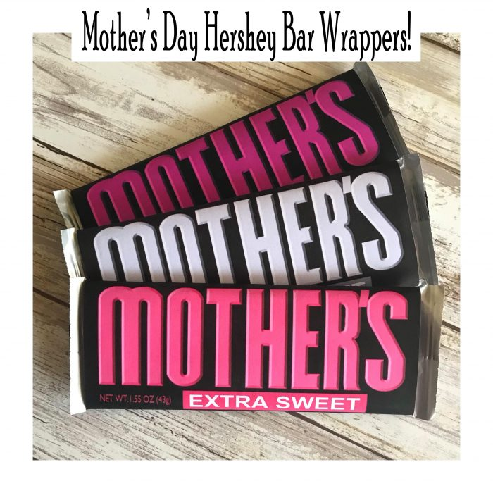 Mother's Day Hershey Bar Wrappers. Free Printable DIY Gift
