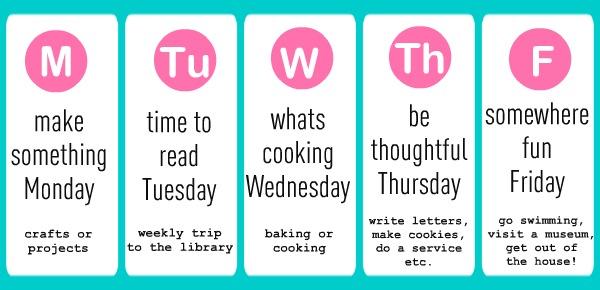 printable weekly summer schedule