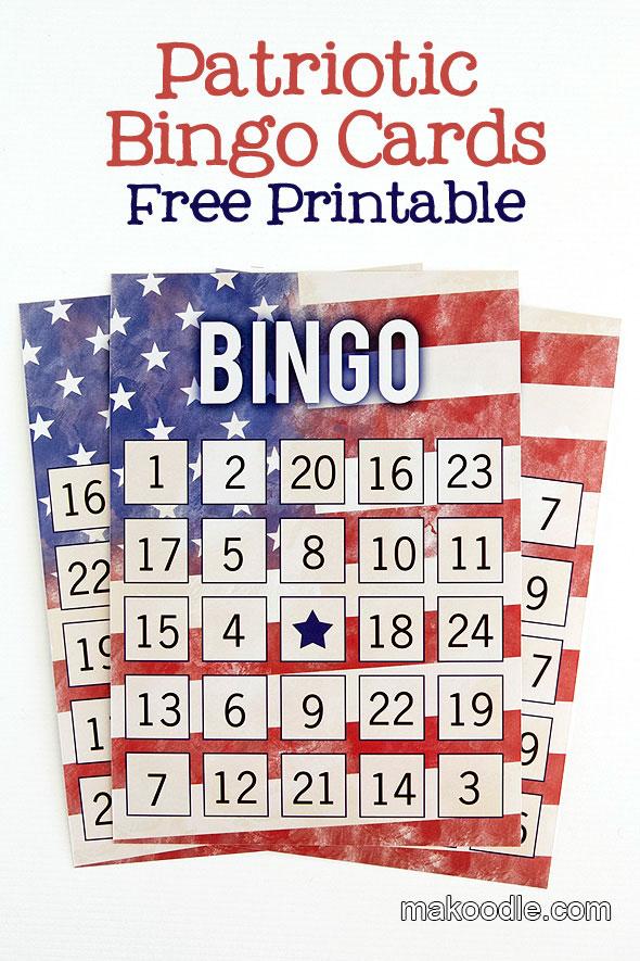 Patriotic Bingo Card Printables
