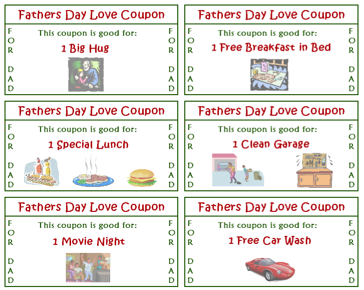 car wash coupon template - 40 free diy father 39 s day printable gifts printables 4 mom