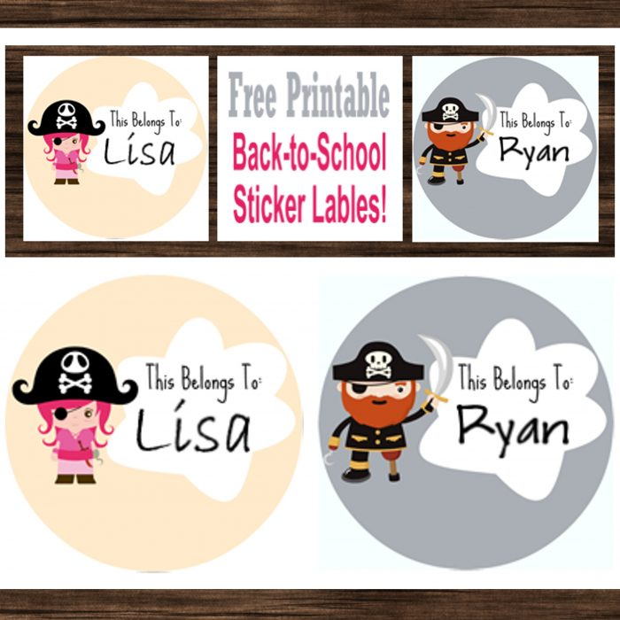 Back to School Sticker Labels Free Pirate Stickers