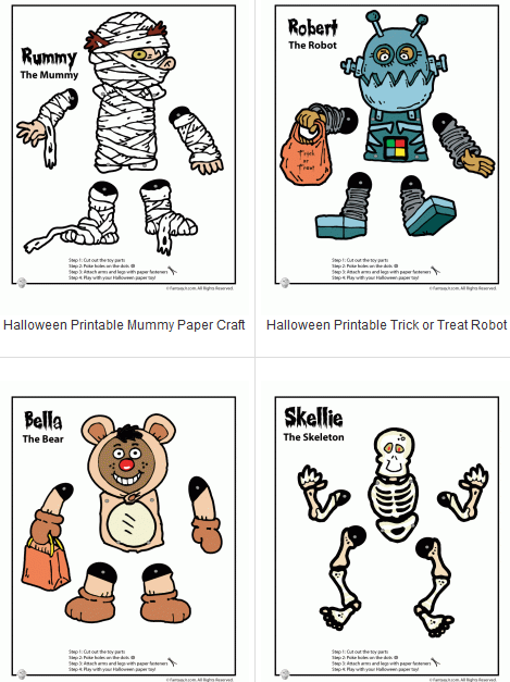 10 Halloween Jumping Jack Moveable Characters