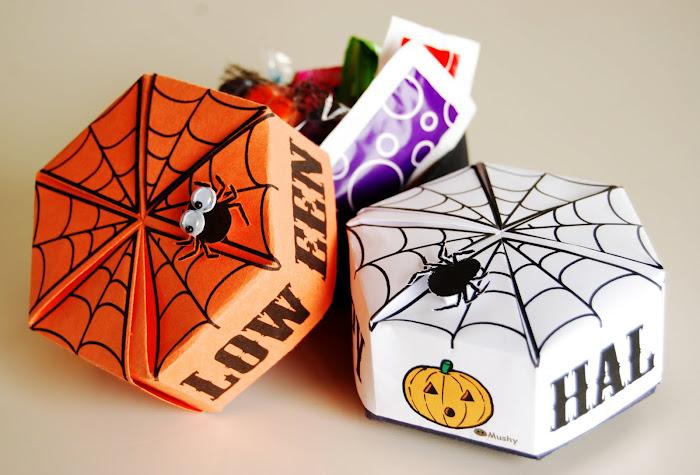 Free printable halloween folding box origami treat frugal cheap gift idea