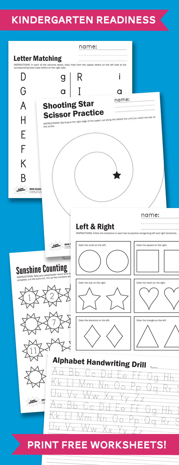 Mesmerizing image inside printable kindergarten readiness test