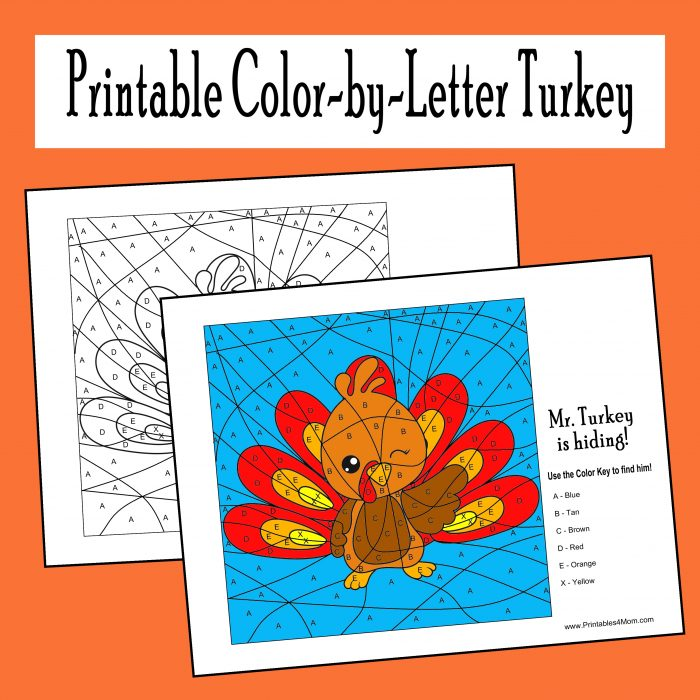 Printable Color-by-Letter Turkey Free Worksheet