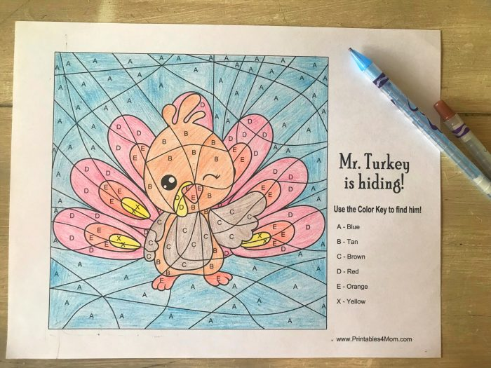 Printable Color-by-Letter Turkey Worksheet