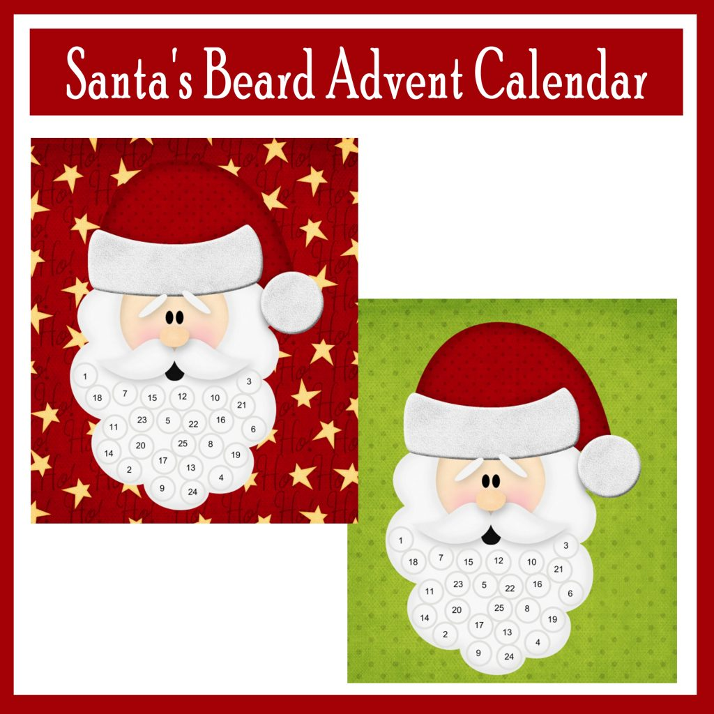 Santa's Beard Advent Calendar Free Printable