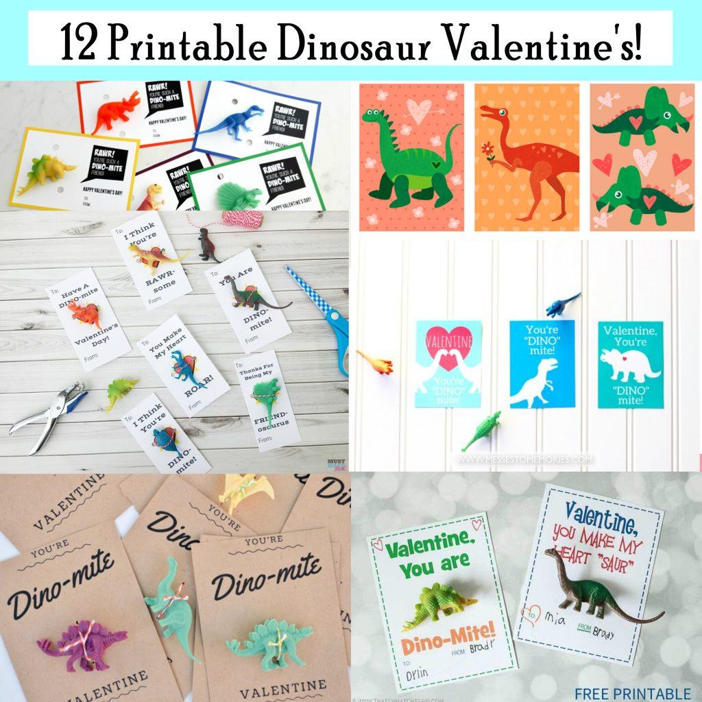 Printable Dinosaur Valentines. Free Printable Valentine Day Cards.