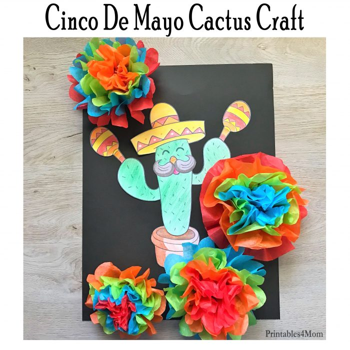 Mexican Cactus Craft Freebie and Flower Tutorial for Cinco de Mayo