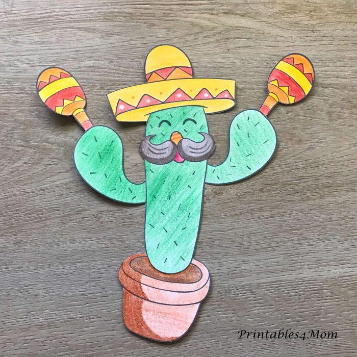 Mexican Cactus Coloring Page for Cinco de Mayo