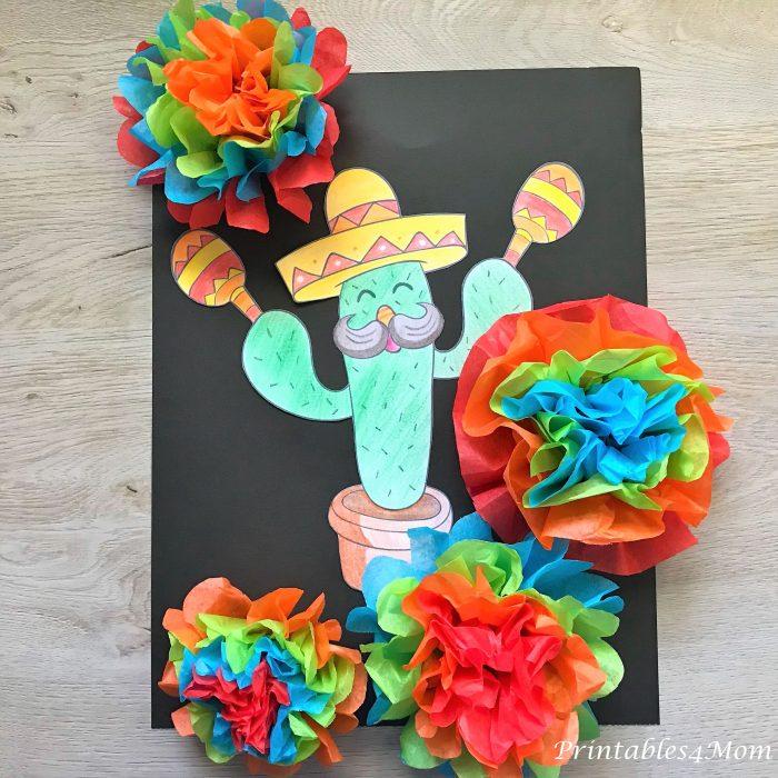Mexican Cactus Craft Freebie and Flower Tutorial. Cinco de Mayo free printable activity.