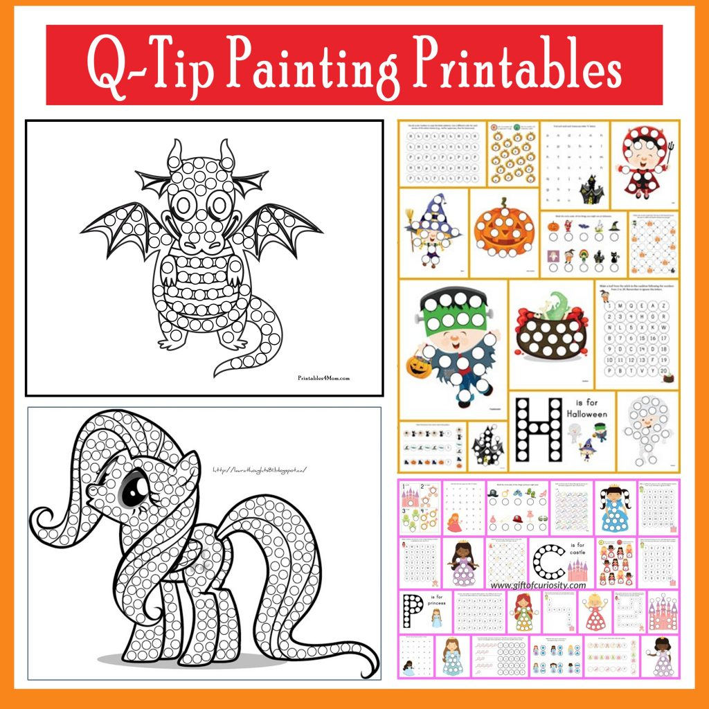 q tip painting templates and do a dot printables printables 4 mom
