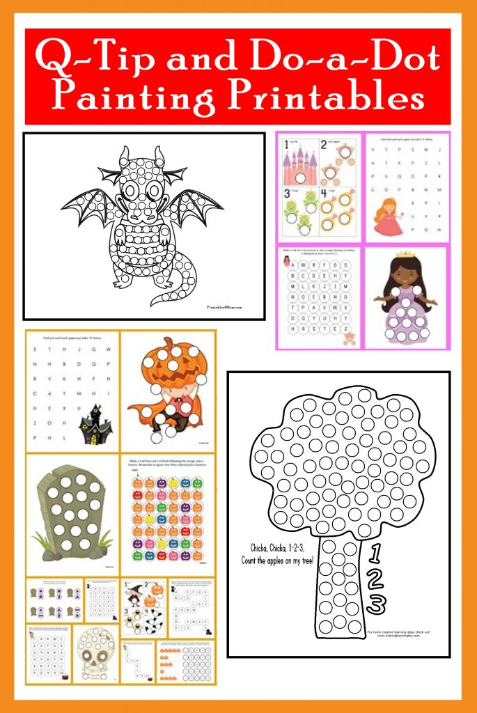 QTip Painting Templates and DoaDot Printables