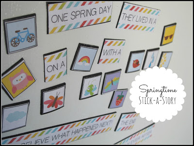 springtime stick a story writing english craft activity kids homeschool teach spring