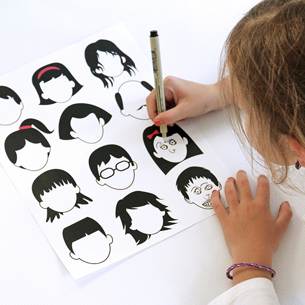 Blank Faces Drawing Template