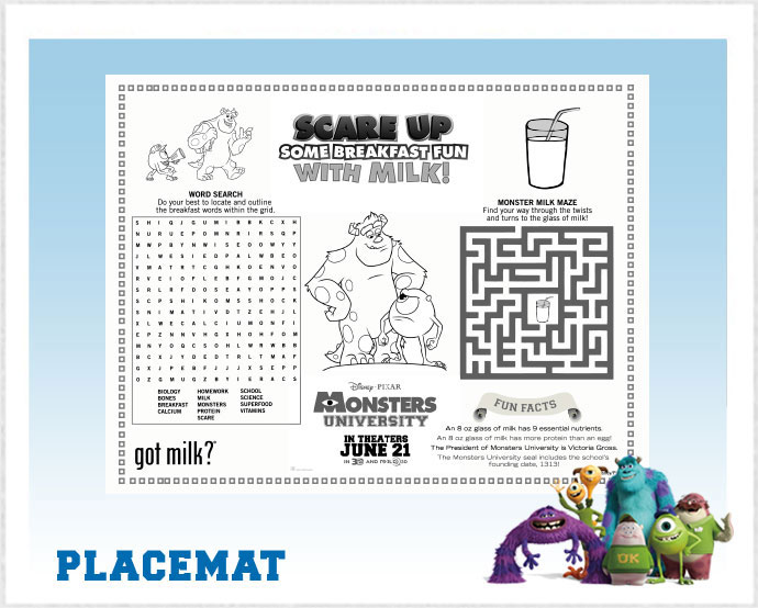 Monsters University Printable Placemat