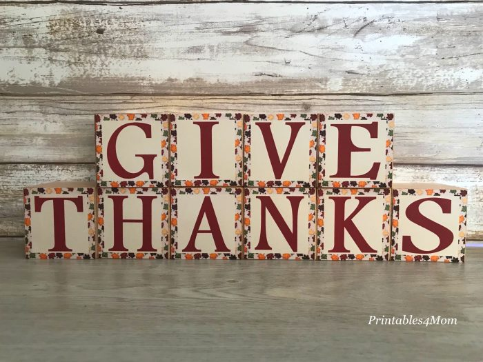 Thanksgiving Give Thanks Wooden Blocks Craft and free Printables