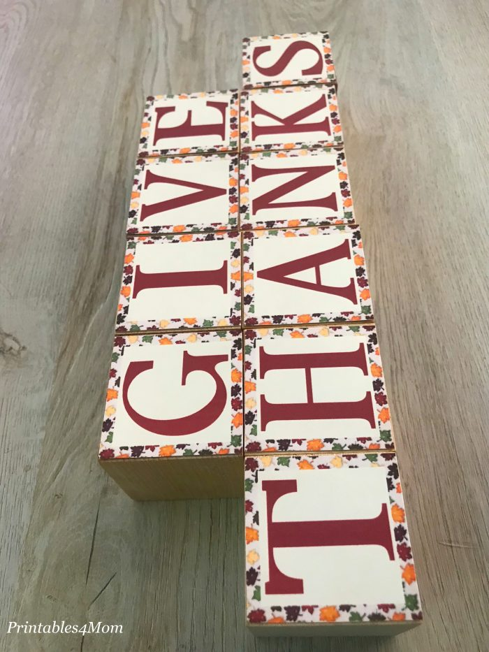 Give Thanks Wooden Blocks Craft and Printable