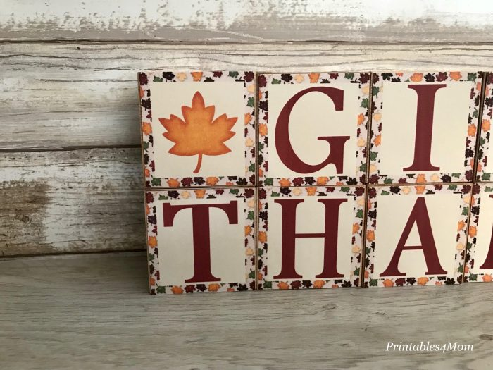 Thanksgiving Give Thanks Wooden Blocks Craft and Printable