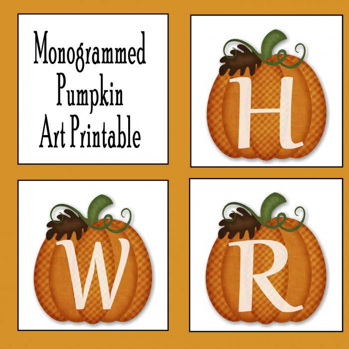 Monogrammed Pumpkin Wall Art Printable