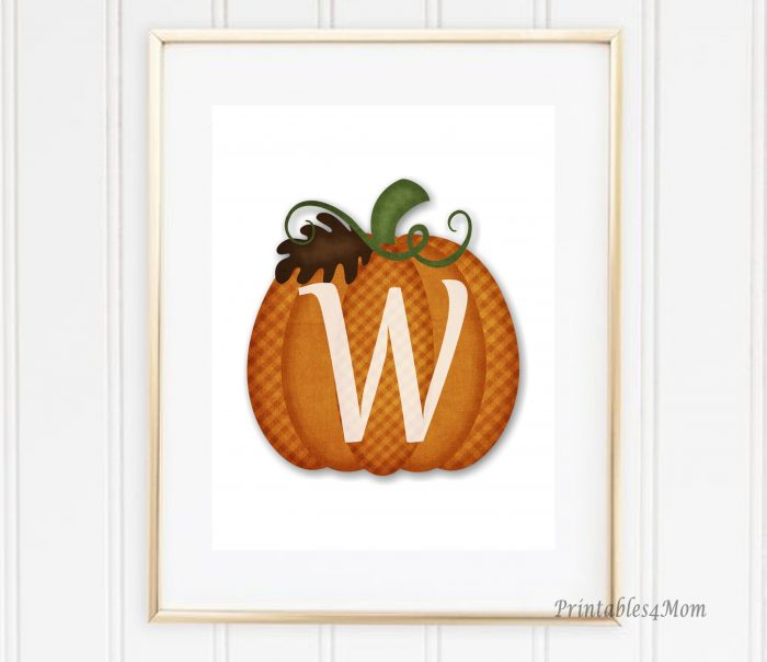 Free Monogrammed Pumpkin Wall Art Printable