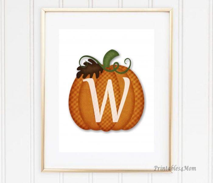 Free Monogrammed Pumpkin Wall Art Printable