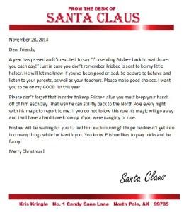 elf on the shelf printable return letter