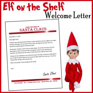 elf on the shelf customizable welcome letter
