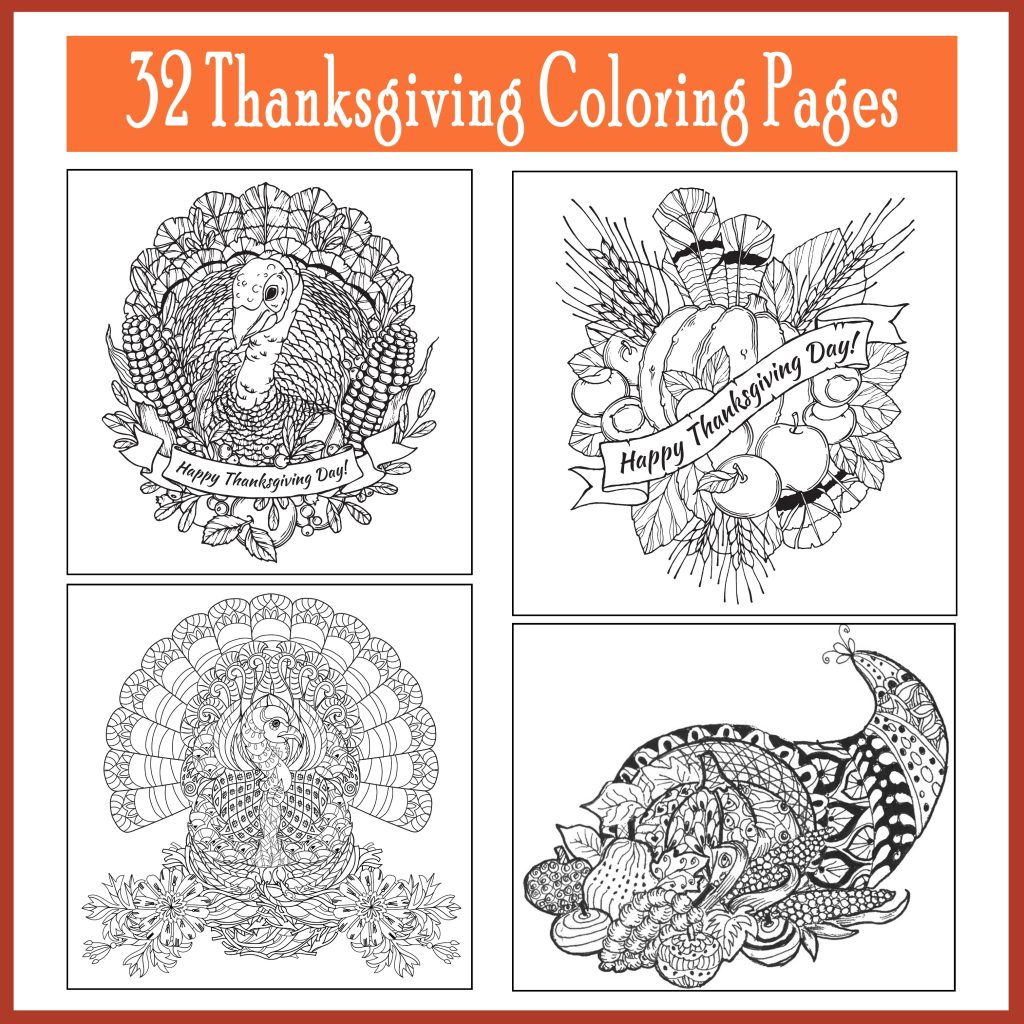 Thanksgiving Adult Coloring Pages Pages (For kids too!)