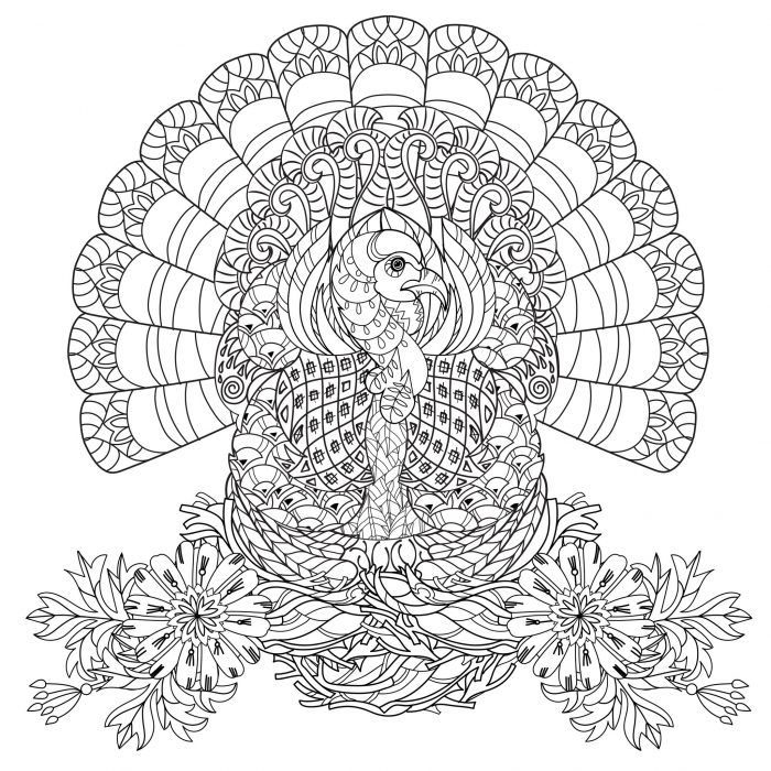 Detailed Zentangle Turkey For Coloring Page For Adult Illustration ... | 700x700