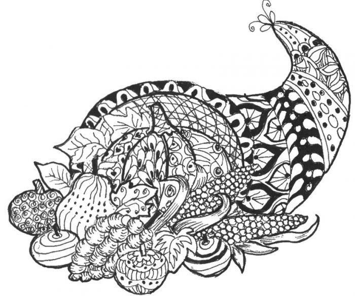 This is a photo of Unforgettable Free Printable Thanksgiving Coloring Pages for Adults