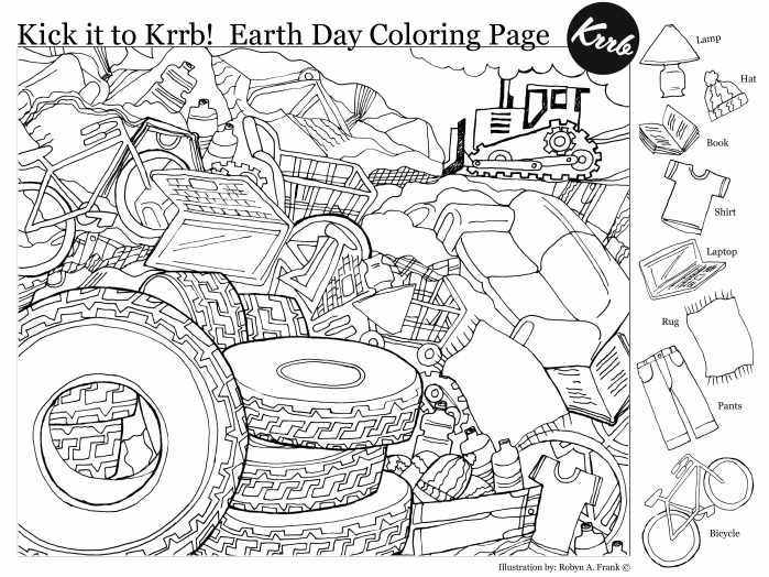 Earth Day Hidden Pictures Coloring Page