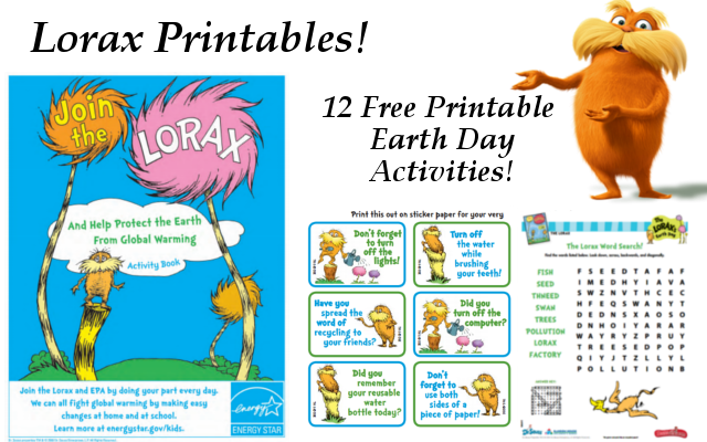12 Lorax Earth Day Activity Sheets Printables 4 Mom