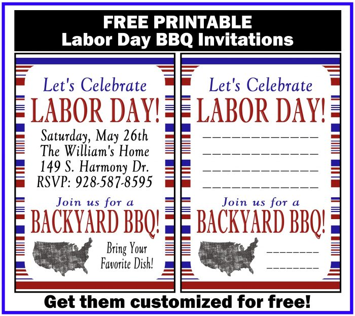 Labor Day BBQ Printable Invitation. Get free customization!