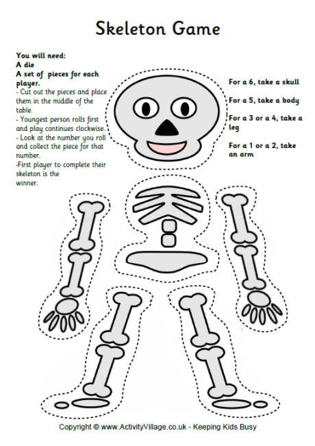 picture regarding Printable Skeleton Parts titled 9 Printable Skeleton Crafts - Printables 4 Mother