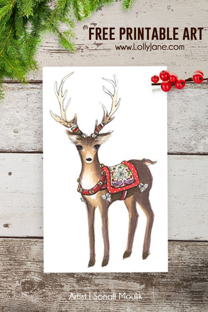 Free Christmas Reindeer Art - Printables 4 Mom