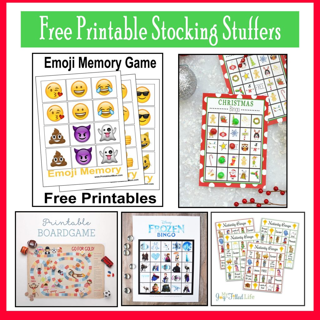 10 Free, Last Minute Printable Stocking Stuffer Games Emoji Pokemon Frozen Nativity