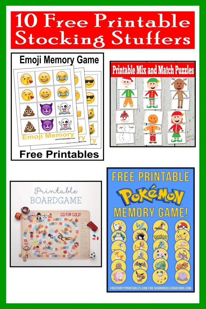 10 Free, Last Minute Printable Stocking Stuffer Games emoji frozen nativity pokemon