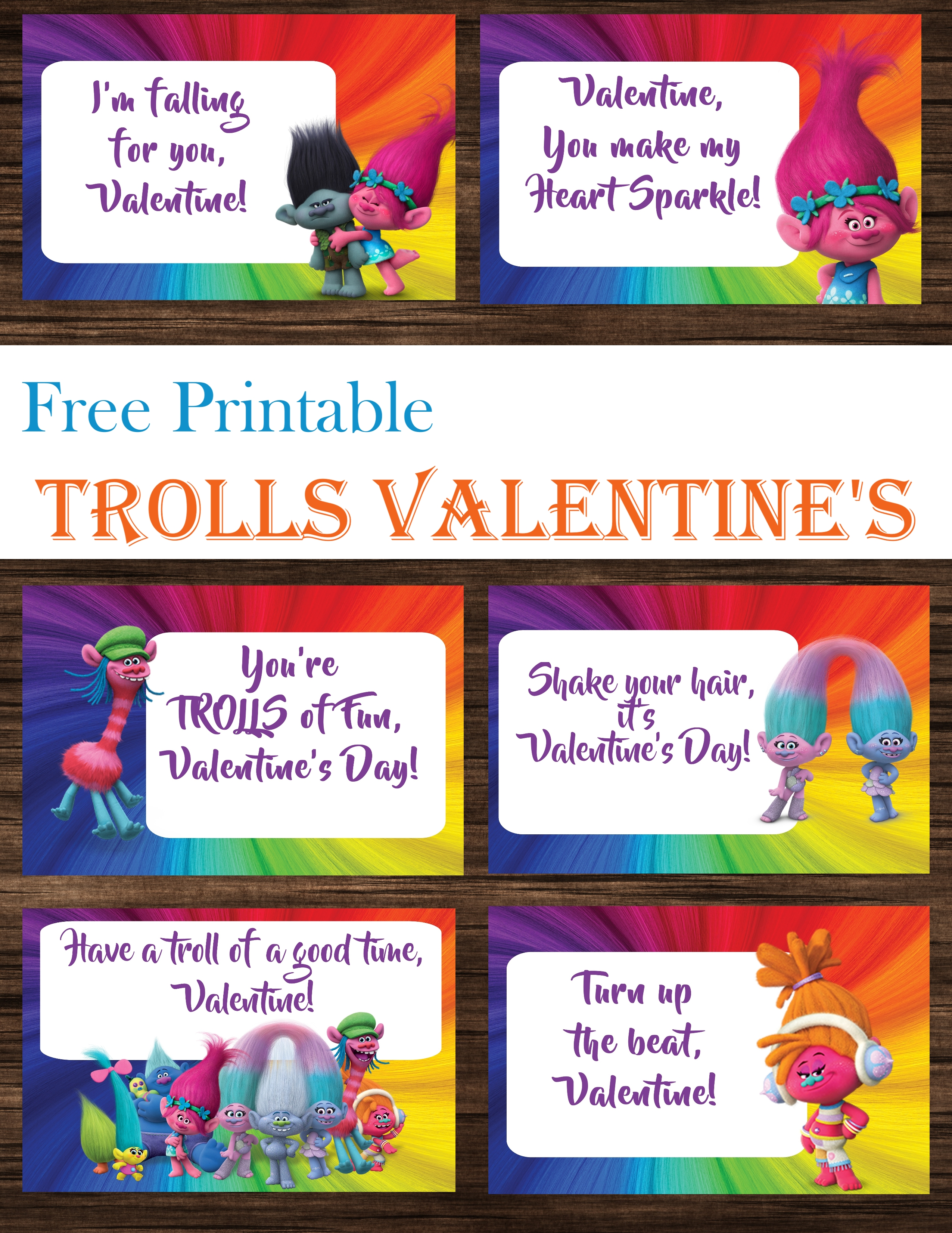 Trolls Valentine's Day Cards Free Printables