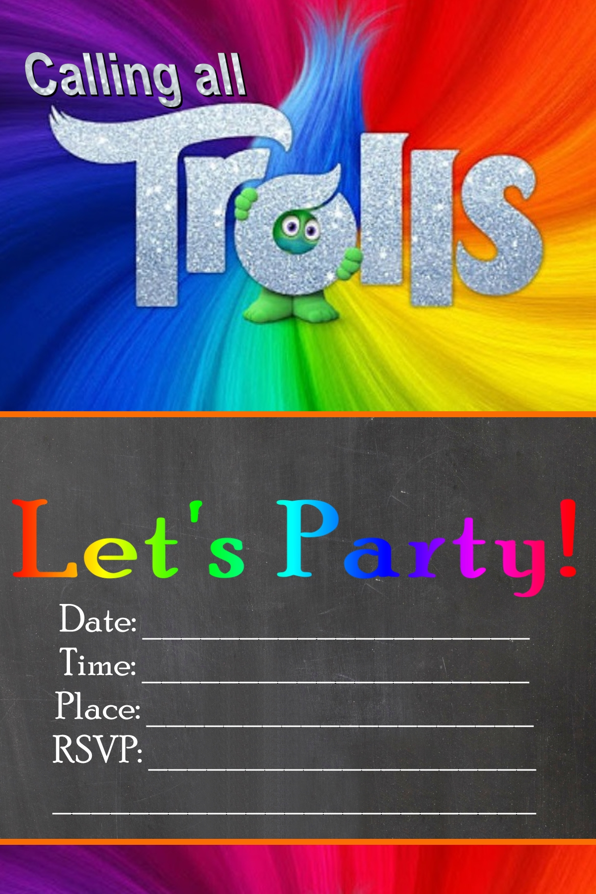 Free DIY Trolls Invitation Printables 4x6