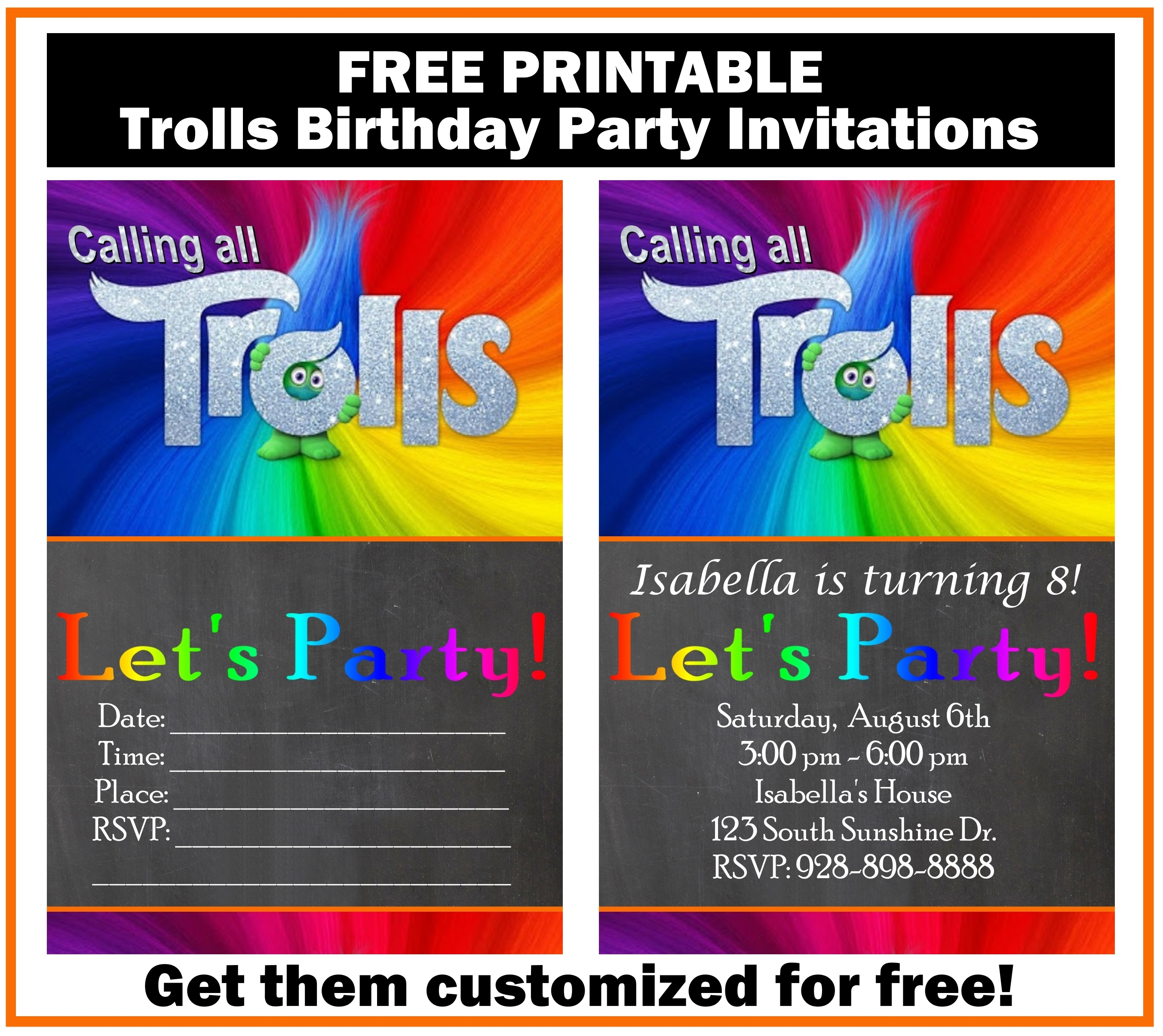 Free Trolls Birthday Party Invitation Printables