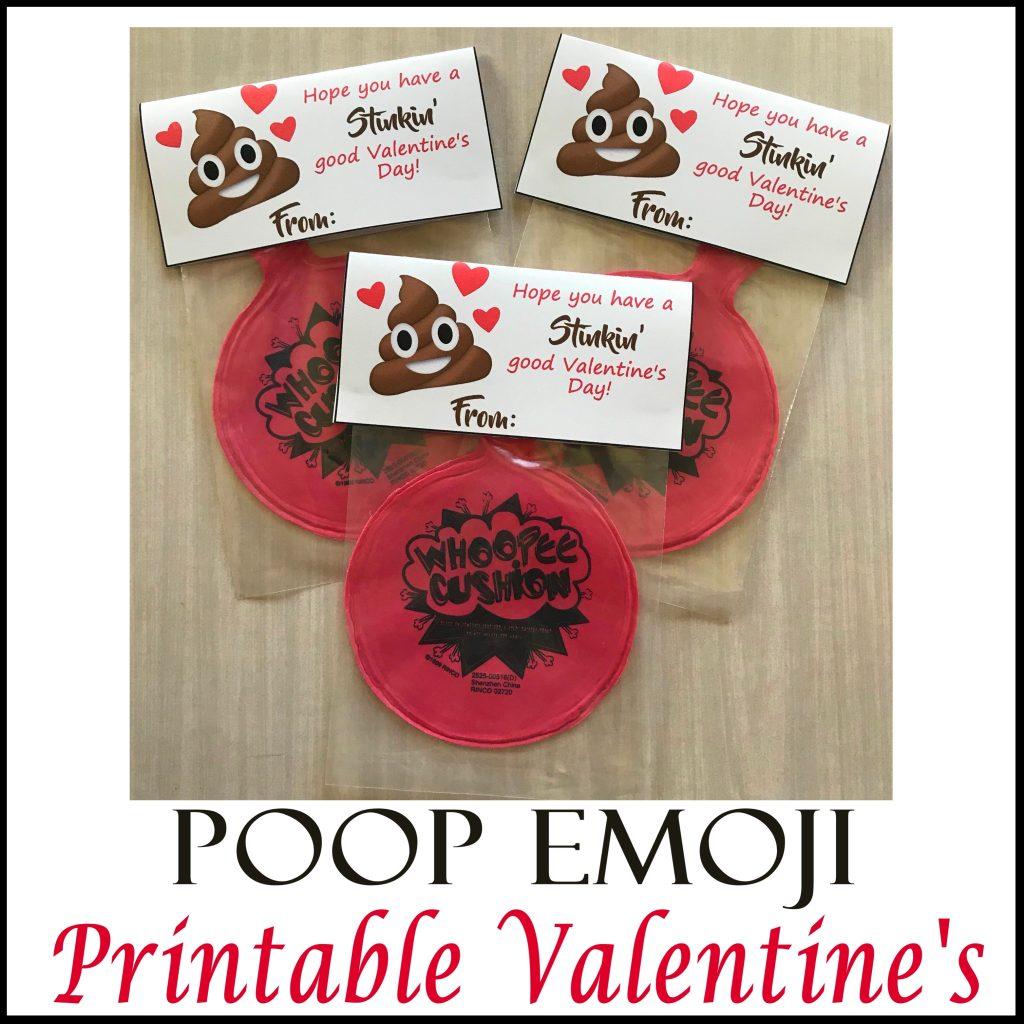 Poop Emoji Whoopee Cushion Valentine's Free Printable