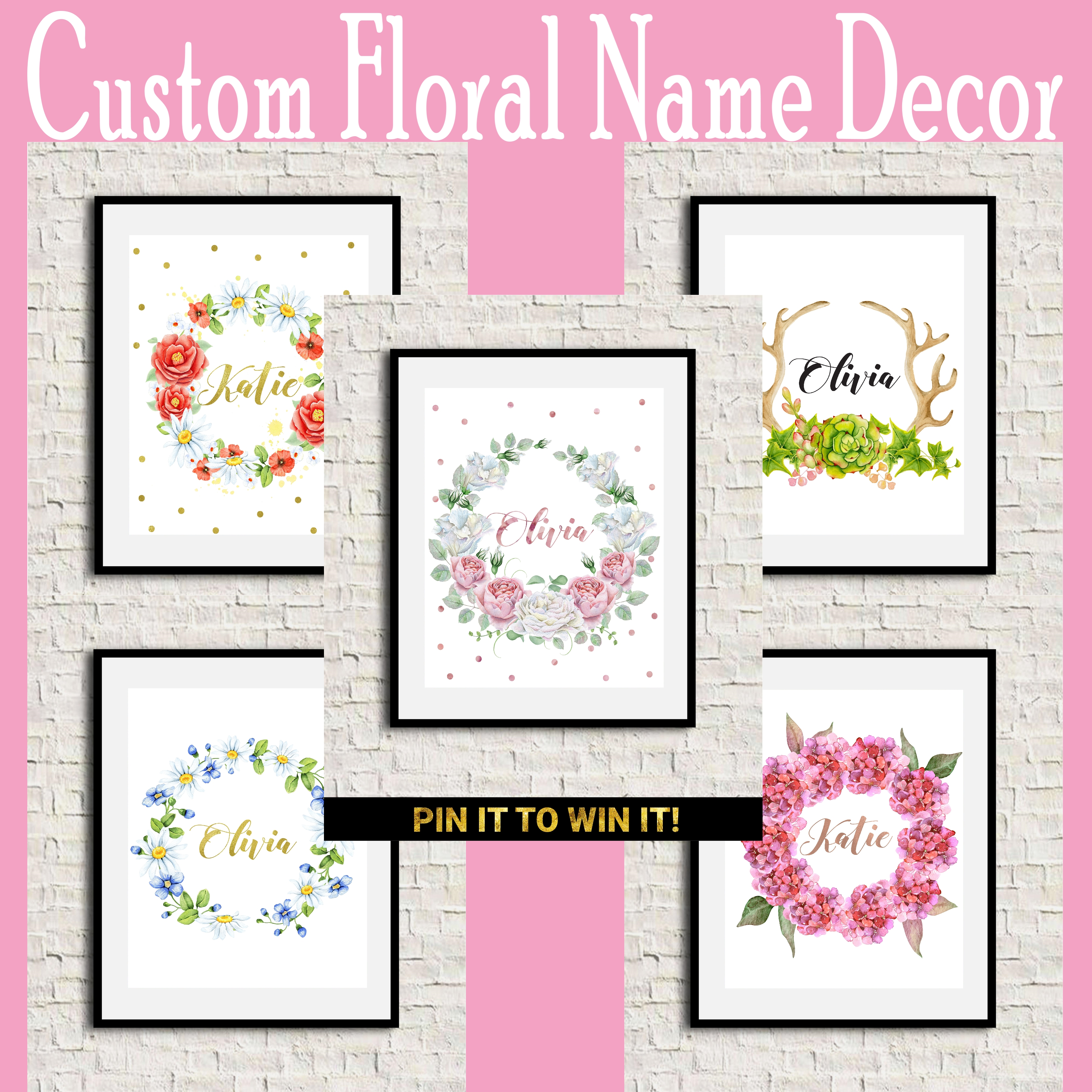 custom floral name Giveaway!! Decor Art Print