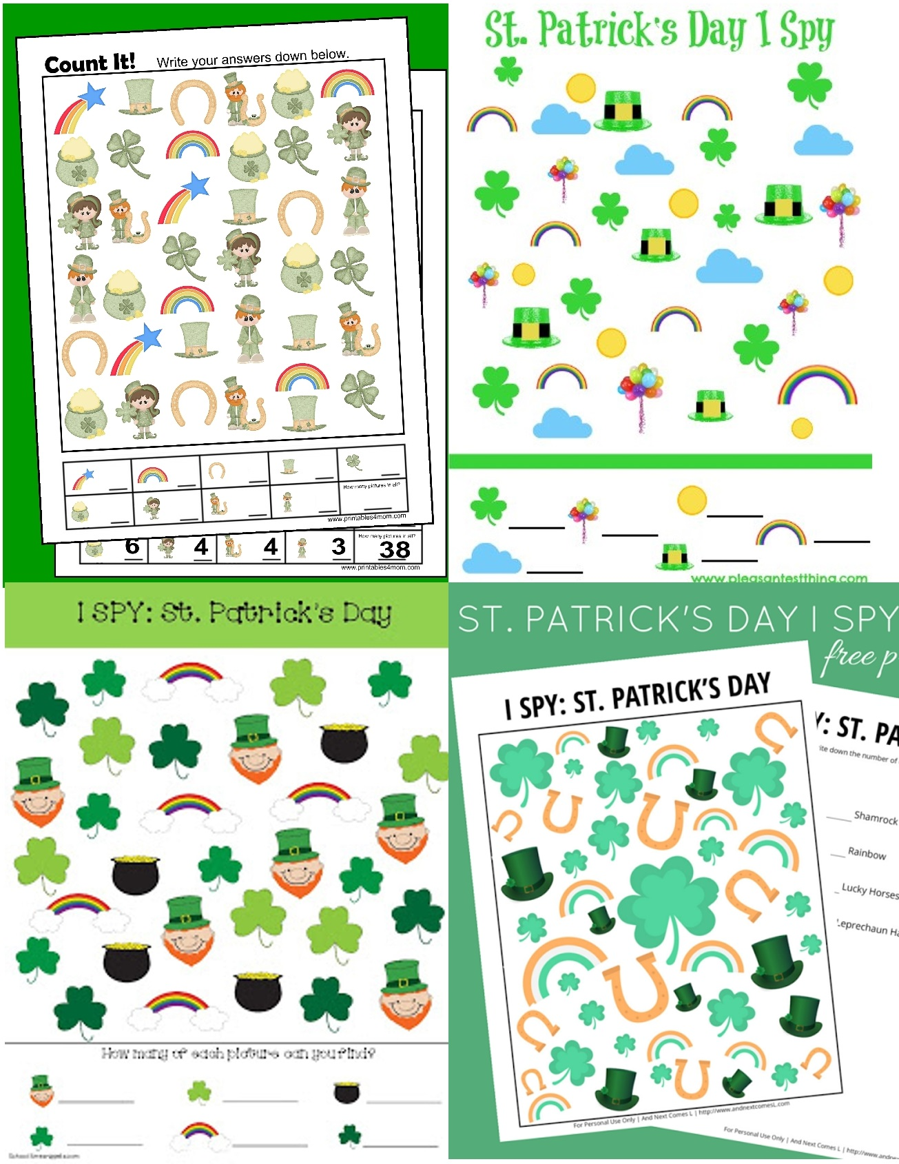 St. Patrick's Day Game Ispy Printable worksheets counting activity for kids
