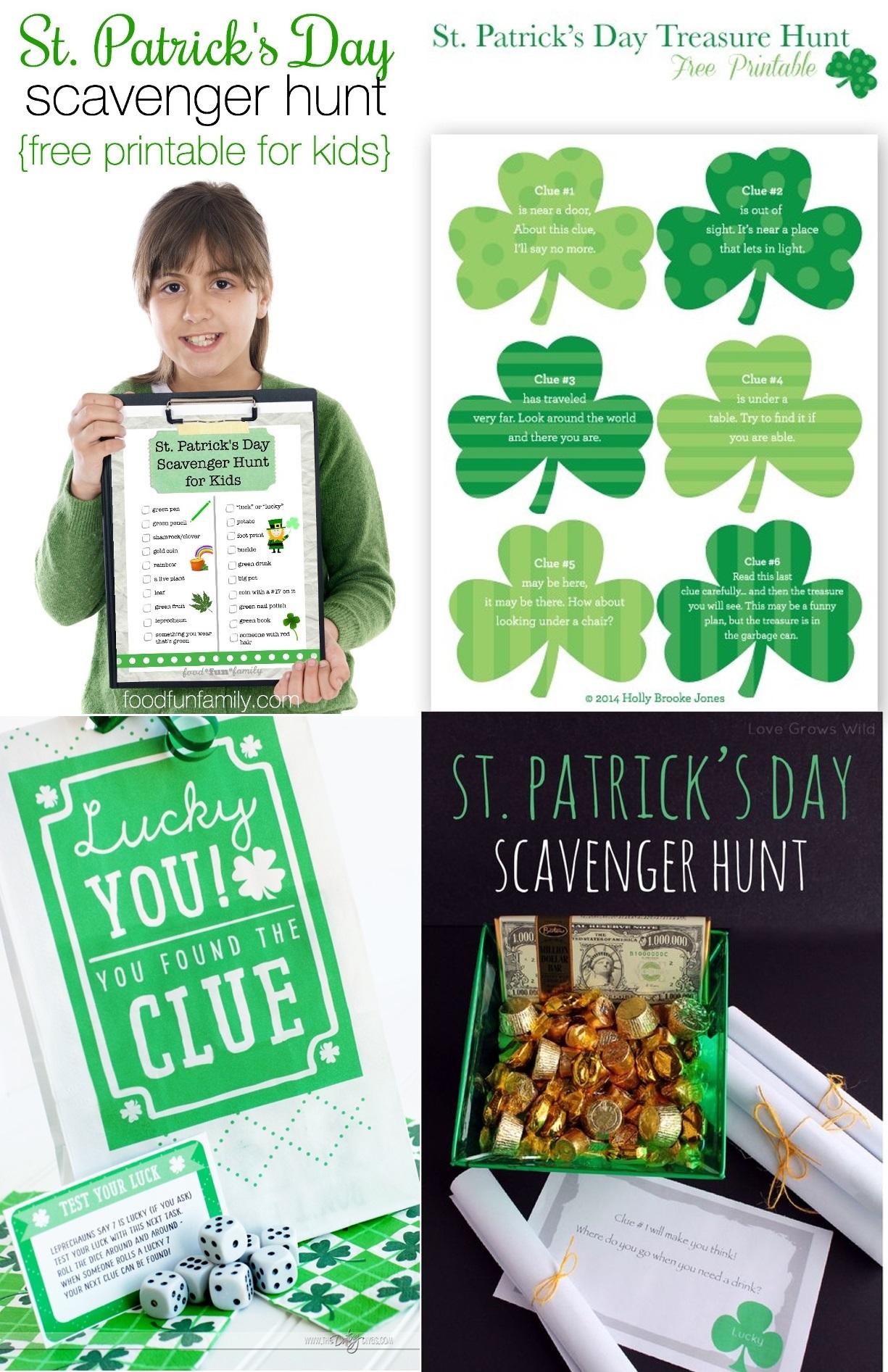 St. Patrick's Day Game Printable Treasure Hunt Scavenger Hunt